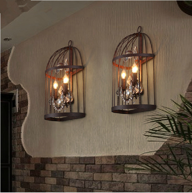 Vintage Industrial Bird Cage Crystal Wall Sconce Lamp