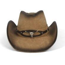 Hombres Sombrero de vaquero occidental Roll Up ala papá Caballero 100%  cuero Sombrero Hombre Jazz Caps tamaño 58 cm b4c3f5fa6a8