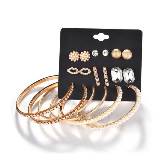 9 Pairs/Set Round Earrings Luxury Rhinestone Circle Ring Ear Stud Fashion Dangle Charms Jewelry Gifts Women Lady Floral Statemen