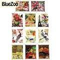 BlueZoo 11 Designs Vintage Borboleta Flor Adesivos Decorativos Decorações de Unhas Selo Postal de Transferência da Água Decalque Unhas Suprimentos