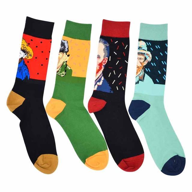Autumn Winter Men New Color Matching Retro Art Ink Painting Pattern Series Men Fashion Trend Harajuku Happy Cotton Socks F230