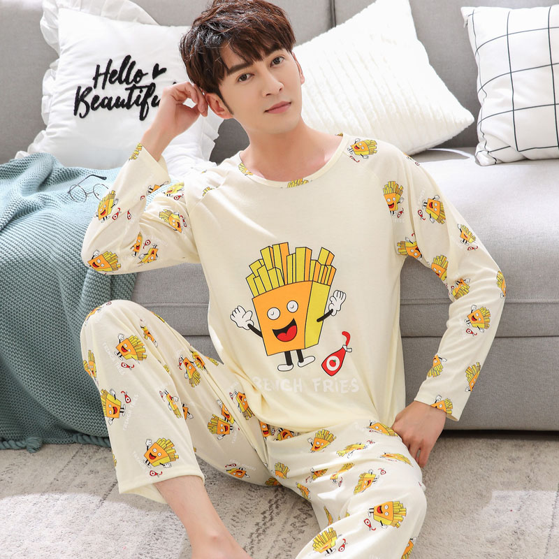 Yidanna Men Pajamas Set Autumn Long Sleeved Sleep Clothing Casual Cotton Sleepwear Male Plus Size Nightwear Cartoon Suit Nighty