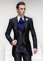 Последние Пальто Пант дизайн итальянский Темно синие Атлас Для мужчин костюм для выпускного Custom Classic Slim Fit смокинг жениха 3 предмета Блейзер