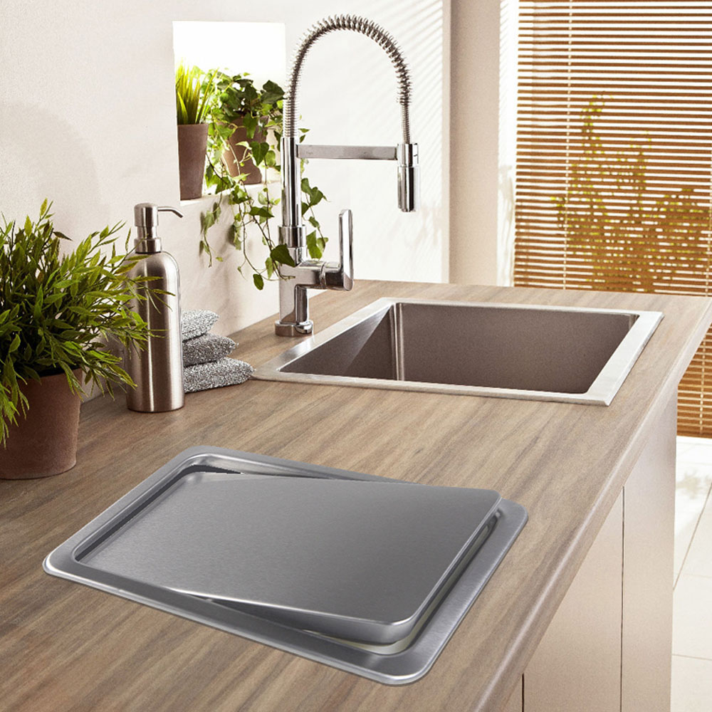 Stainless Steel Flush Recessed Built-in Balance Swing Flap Lid Cover Trash Bin Garbage Can Kitchen Counter Top ashcan Swing lid