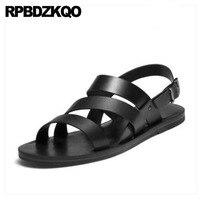 Open Toe Men Gladiator Sandals Summer Roman Genuine Leather Shoes Beach Strap Flat High Quality Designer 2018 Black Outdoor