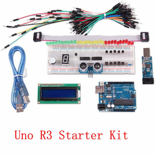 Uno R3 Starter Kit USB Programmer+IDC Cable+Jumper Cable+USB Cable+Solderless Breadboard+LCD 1062+HC-SR04+Expander  and so on