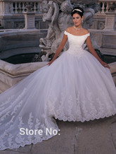 New Custom Made Ivory/White Satin Tulle Beading Appliques Pearls Scoop A-Line Wedding Dress Bridal Gown for Marriage