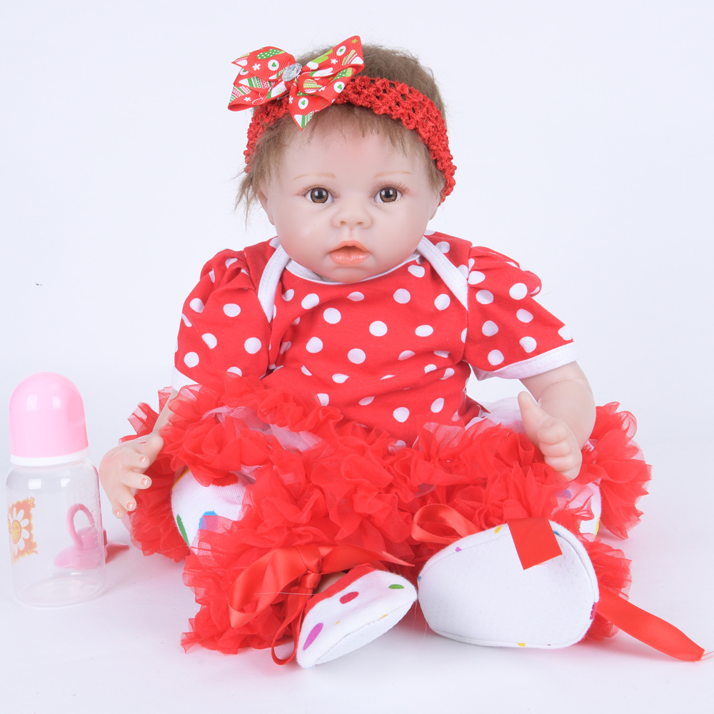 22 inches Cute Newborn Baby Doll Realistic Reborn Princess Girl Doll with Cloth Body for Kids Toy Birthday Christmas Gift rare w i t c h 6 inches doll with pvc bag collection girl gift