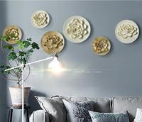 Resin crafts European Three dimensional Flowers Mural Plate Wall hanging creative wall decorations TV background Wall Sticker