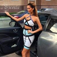 Free Shipping HOT SALE Summer Color Blocked Halter Two Piece Set HL 2014 NEW Bandage Dress