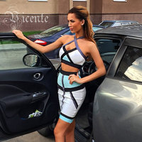 Free Shipping HOT SALE Summer Color Blocked Halter Two Piece Set HL 2014 NEW Bandage Dress