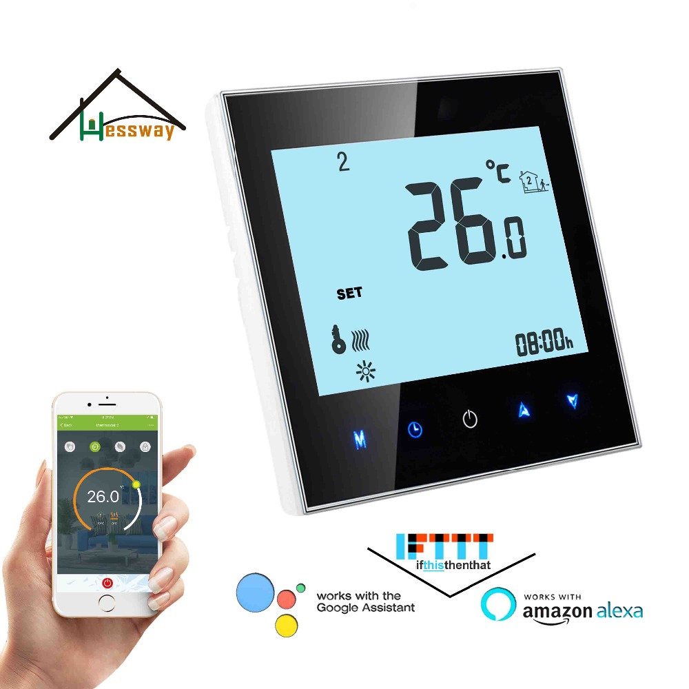 24VAC,95 240VAC TUYA NC,NO Works with Alexa Google home Floor Heating Thermostat WIFI for Underfloor Warm System-in Smart Temperature Control System from Home Improvement    1