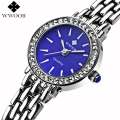 WWOOR Brand Blue Dial Rhinestones Bracelet Watch Ladies Quartz Casual Dress Watch Women Girls Watches Analog Clock Montre Femme