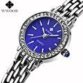 WWOOR Marca Mostrador Azul Strass Pulseira de Relógio de Quartzo Das Senhoras do Relógio Vestido Casual Mulheres Meninas Relógios Analógicos Relógio Montre Femme