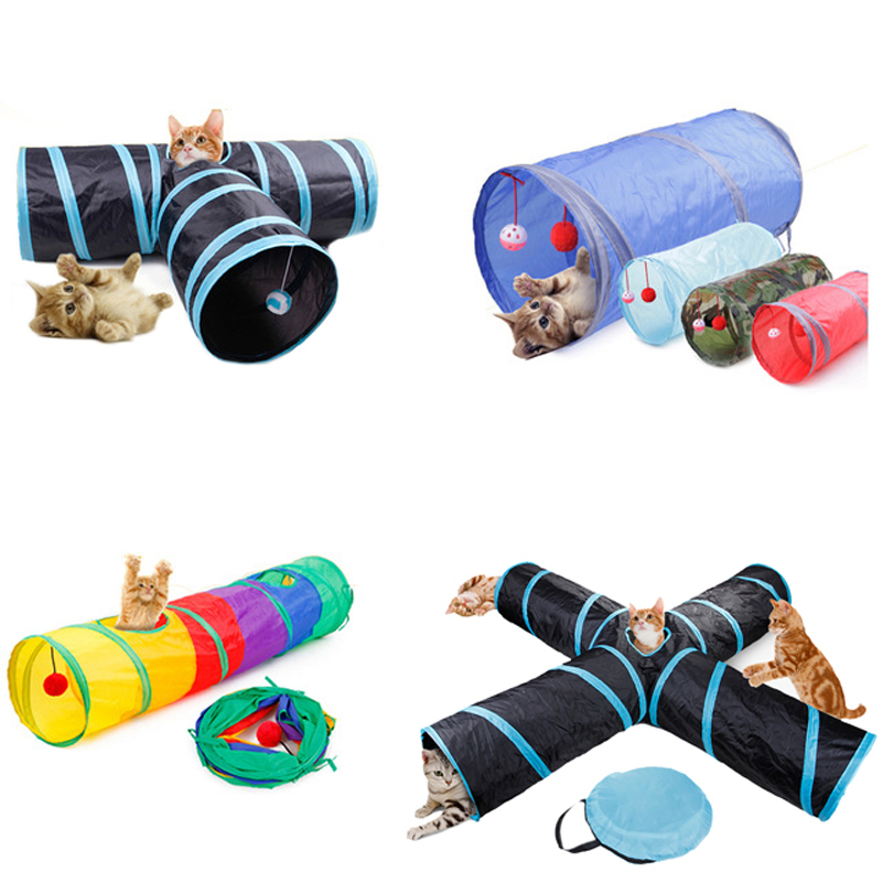 YUYU Funny Cat Tunnel Four-tunnel Puzzle Small Animal Toys Rabbit Hamster Holes Foldable Cat Pet Tunnel House 4 Style
