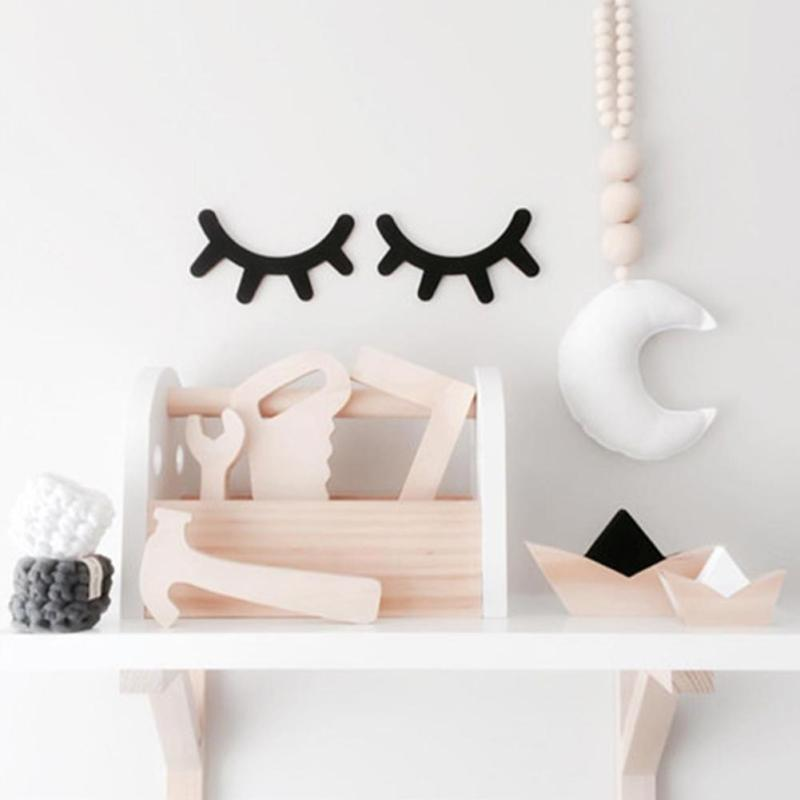 2pcs cute sleepy eyes wood eyelash wall sticker home furnishing baby