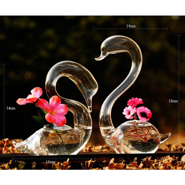 OnnPnnQ Swan Glass Floor Vase Decoration Home Glass Terrarium Vase for Wedding Decoration  Flower Vases Decoratives for Homes