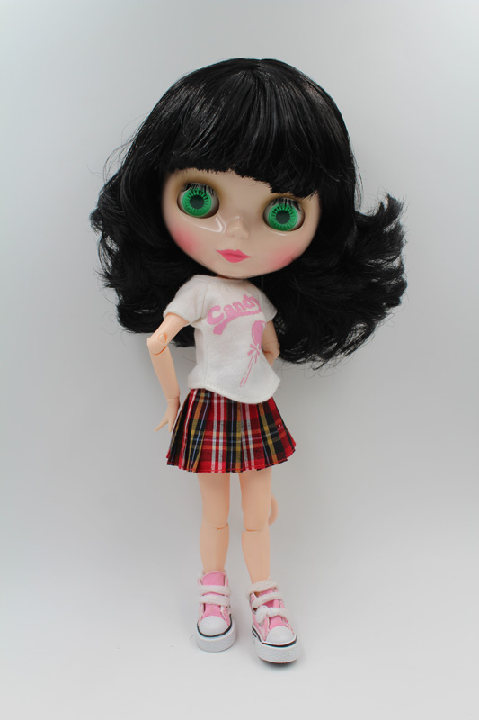 Free Shipping BJD joint RBL-212J DIY Nude Blyth doll birthday gift for girl 4 colour big eyes dolls with beautiful Hair cute toy