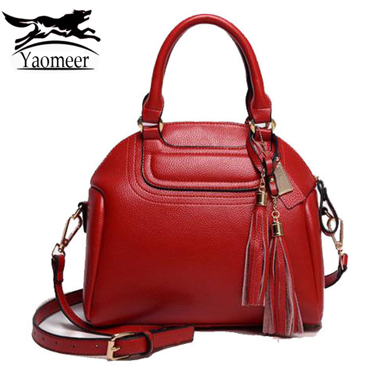 New Fashion Tassel Bag Luxury Handbags Women Bags Designer Pu Leather Shoulder Crossbody Bag Female Famous Brand Red Soft Totes bailar fashion women shoulder handbags messenger bags button rivets totes high quality pu leather crossbody famous brand bag