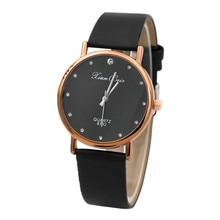 Модный стиль женские Алмазный чехол Leatheroid Band круглые кварцевые наручные часы с циферблатом A40