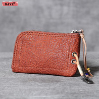 BJYL Original new first layer leather card bag small coins purse handmade retro leather practical driving license key bag wallet