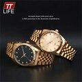 2016 TTLIFE relojes mujeres de los hombres de moda casual reloj amante pareja 30 m impermeable relojes de negocios reloj de acero completo