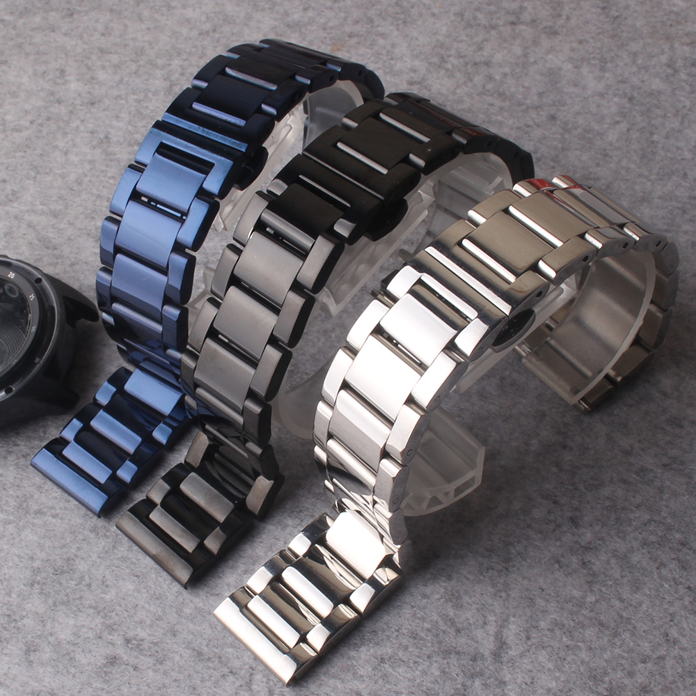 Watchbands straps bracelets Black Blue Silver Stainless steel Polished Watch accessories fit Galaxy Watches 20mm 22mm promotion