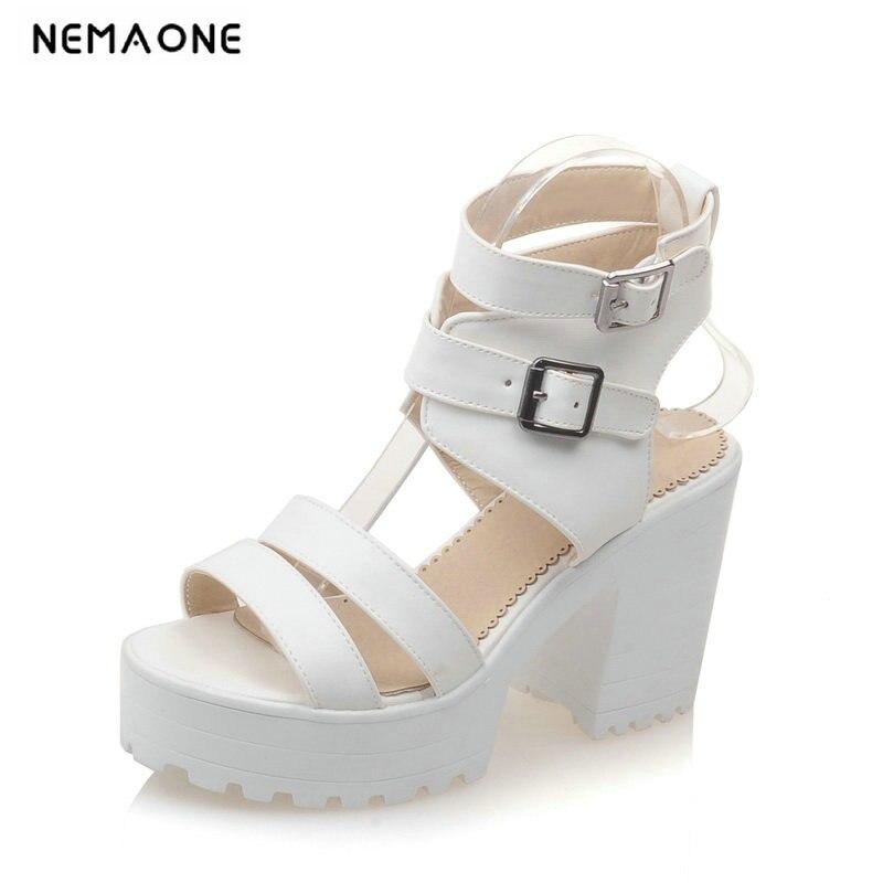 Большие размеры 34 43, модные босоножки на платформе с блочным каблуком, женские летние босоножки из лакированной кожи на высоком каблуке, чер