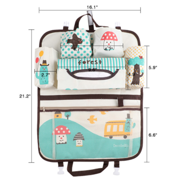 Cute Car Seat Back Storage Hang Bag Organizer Baby Stroller Accessories Varia Stowing Tidying Automobile Interior Accessories