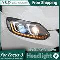 АКД Стайлинга Автомобилей для Фокус Фары 2012-2014 Фокус 3 LED Bi Xenon Объектив Высокого Ближнего света фар DRL Парковка Туман лампы