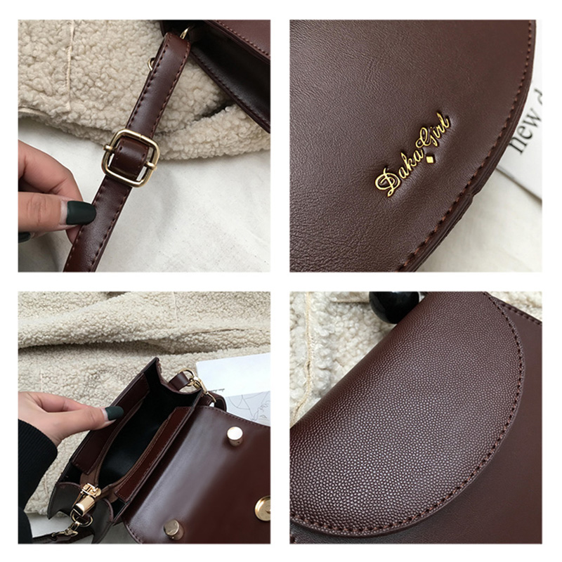 Retro Semicircle Design Beads Horseshoe Bag For Women Handbag Purse PU Leather Crossbody Bag Ladies Shoulder Messenger Bag A5 in Top Handle Bags from Luggage Bags