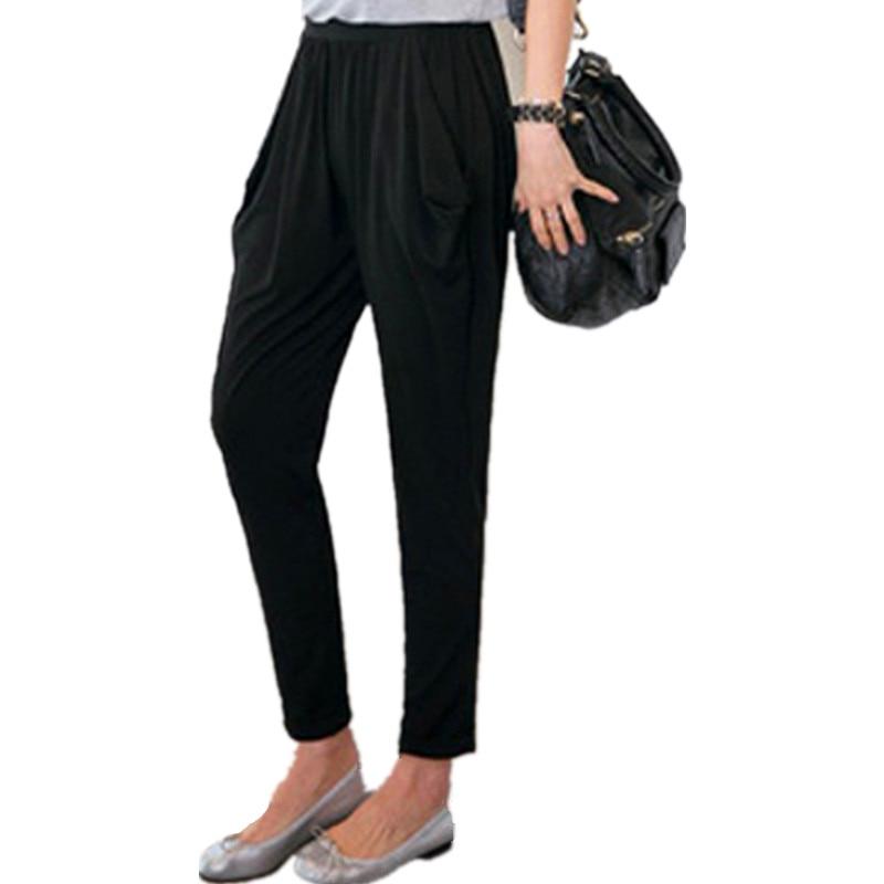 Woman Capris Big size 8xl Soft Milk Silk Stretch Harem Pants Female Summer Breeches For Women Leisure Ankle Length Trousers