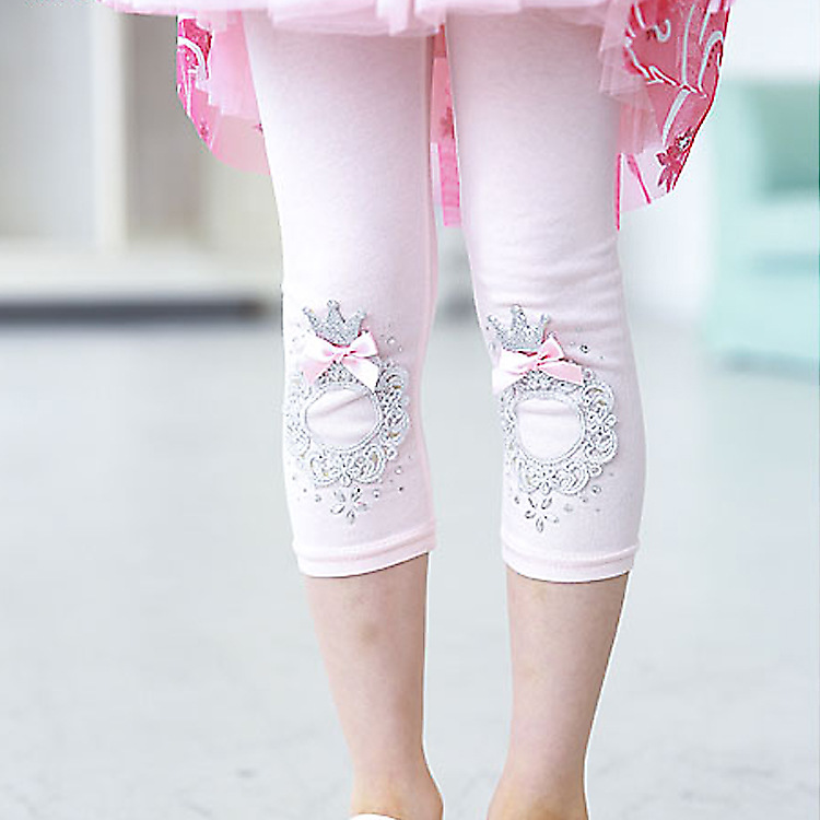 2016 Girls Summer Cotton Leggings Baby Girl Calf-length Bow Leggings Pants Kids Lace Pearl Pants Children