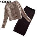 2017 Mujeres Del Suéter Del Knit Top + Falda Delgada Traje de Dos Piezas nueva Moda de Tejer Suéter Abrigo de La Cadera Más Tamaño Pullover C & XD45