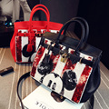 New Fashion casual sequined cartoon Mickey head women's handbag lock platinum Dr. Jin Bao shoulder bag messenger bag 3 color