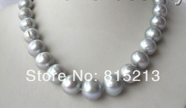 FREE SHIPPING>@@> N1325 stunning big 12mm round gray freshwater cultured pearl necklace free shipping stunning big 12mm baroque white freshwater cultured pearl necklace