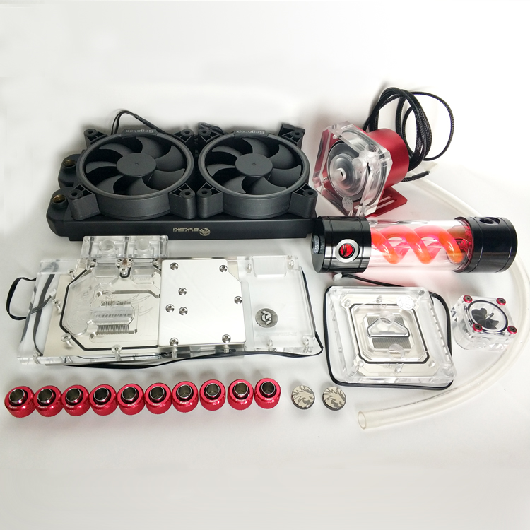 Bykski Soft Tube Suit Water Cooling Kits 240mm Copper Radiator use for CPU and GPU Block Blue Red Fitting Flexible Tube Pump Set bykski multicol water cooling block cpu radiator use for amd ryzen am3 am4 acrylic cooler block 0 5mm waterway matel bracket