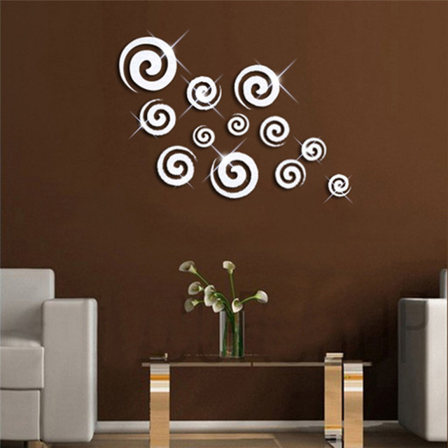 12pcs/set Removable DIY Acrylic Mirror Surface Wall Stickers Creative Wall Decals for Living Room Sofa background Home Decor