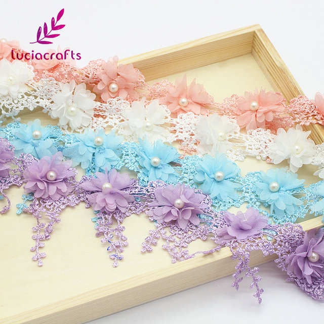 Lucia crafts 1y/lot 7cm Flower Embroidery Lace Fabric Trim Ribbons DIY Sewing Garment Handmade Materials Accessories 050025104