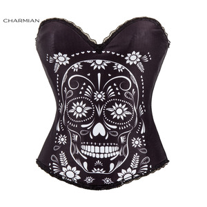Image 5 - Charmian Sexy Steampunk Halloween Corset for Women Vintage Rock Overbust Corset Sugar Skull Egypt Style Printed Costume Bustier