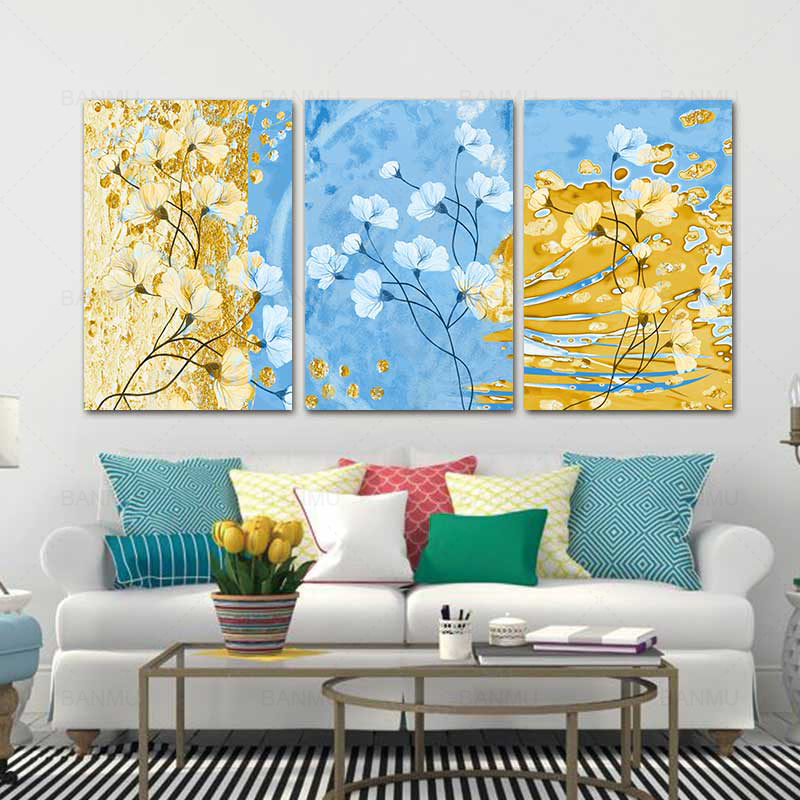 3 pieces abstract wall art canvas painting flower photo print poster home decoration picture office artwork for living room