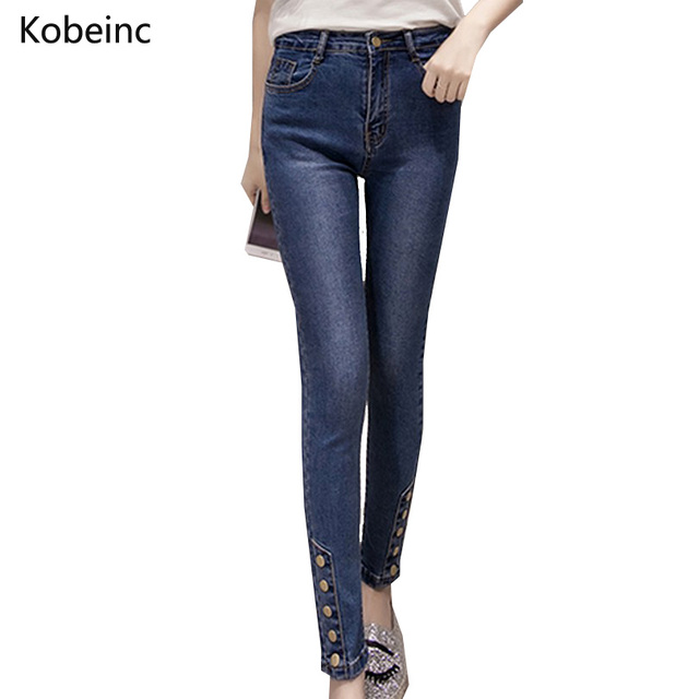 2017 Spring High Waist Skinny Women Trousers Fashion Washed Jeans Causal Buttons Pantalones Slim Big Size S-XL Pencil Pants