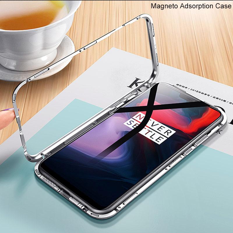 Adsorbimento magnetico di Vibrazione di Caso Per OnePlus Caso 6 Vetro Temperato Del Respingente Del Metallo della Cassa Del Telefono Per Uno Più 6 1 + 6 Magneto Copertura del Metallo