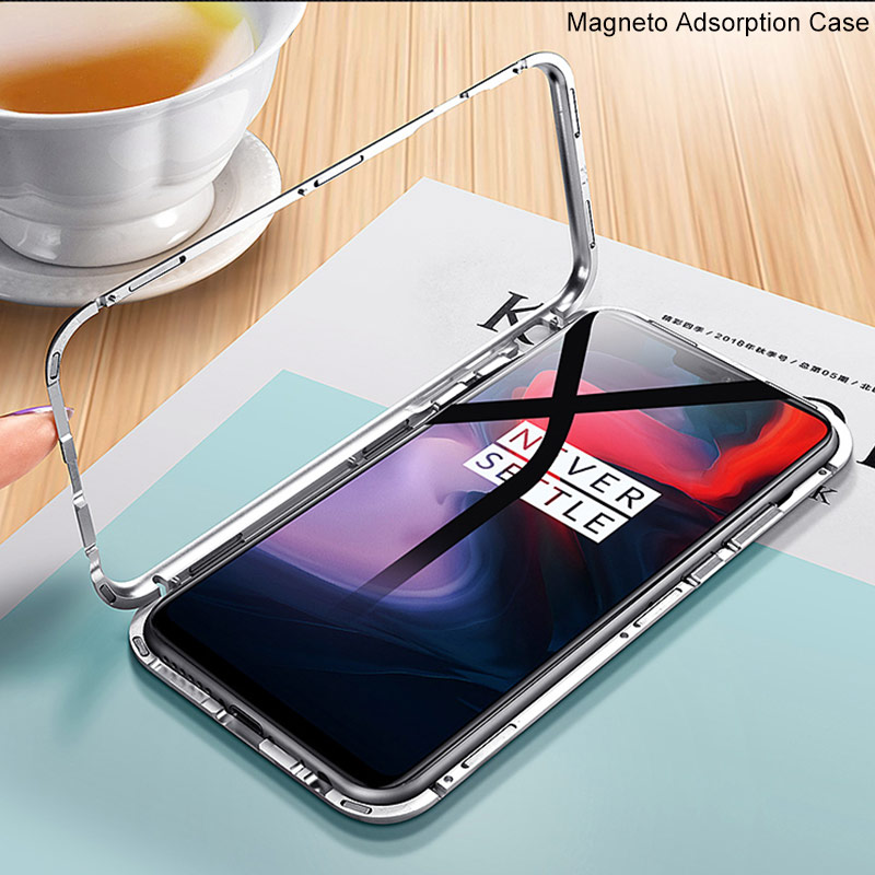 Magnetic Adsorption Flip Case For OnePlus 6 Case Tempered Glass Metal Bumper Phone Case For One Plus 6 1+6 Magneto Metal Cover