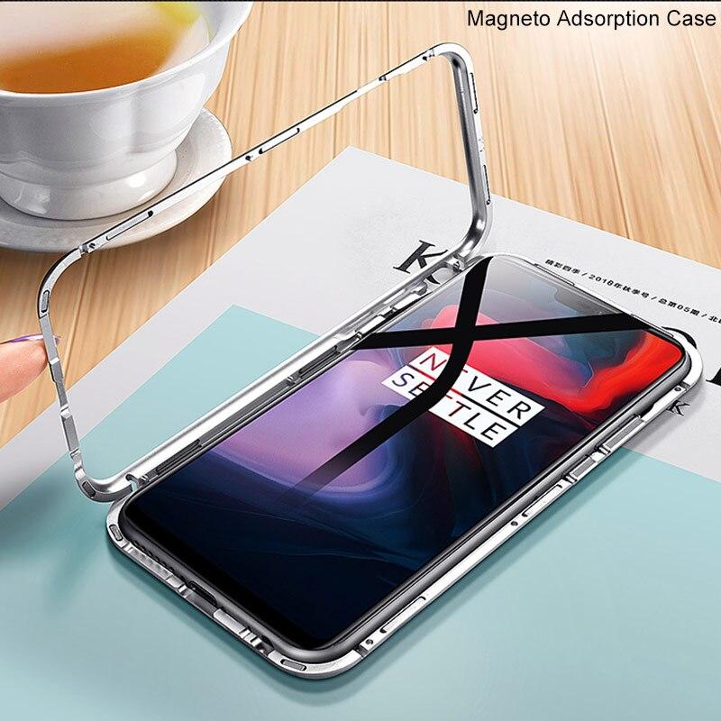 Magnetische Adsorption Flip Fall Für OnePlus 6 Fall Gehärtetes Glas Metall Stoßstange Telefon Fall Für One Plus 6 1 + 6 Magneto Metall Abdeckung