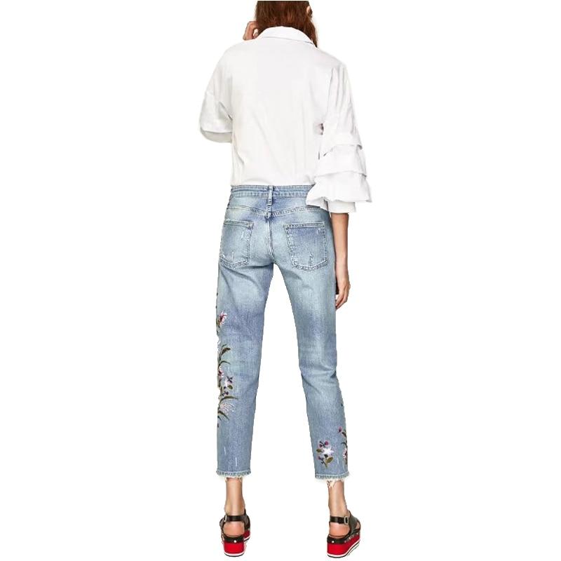Lápiz Moda Diseño Mujeres Rayado Flores Bordado Arrancó Inteligente Pantalón 2019 De Casual Gran Jeans Marca Elástico Algodón Las Zn5xC