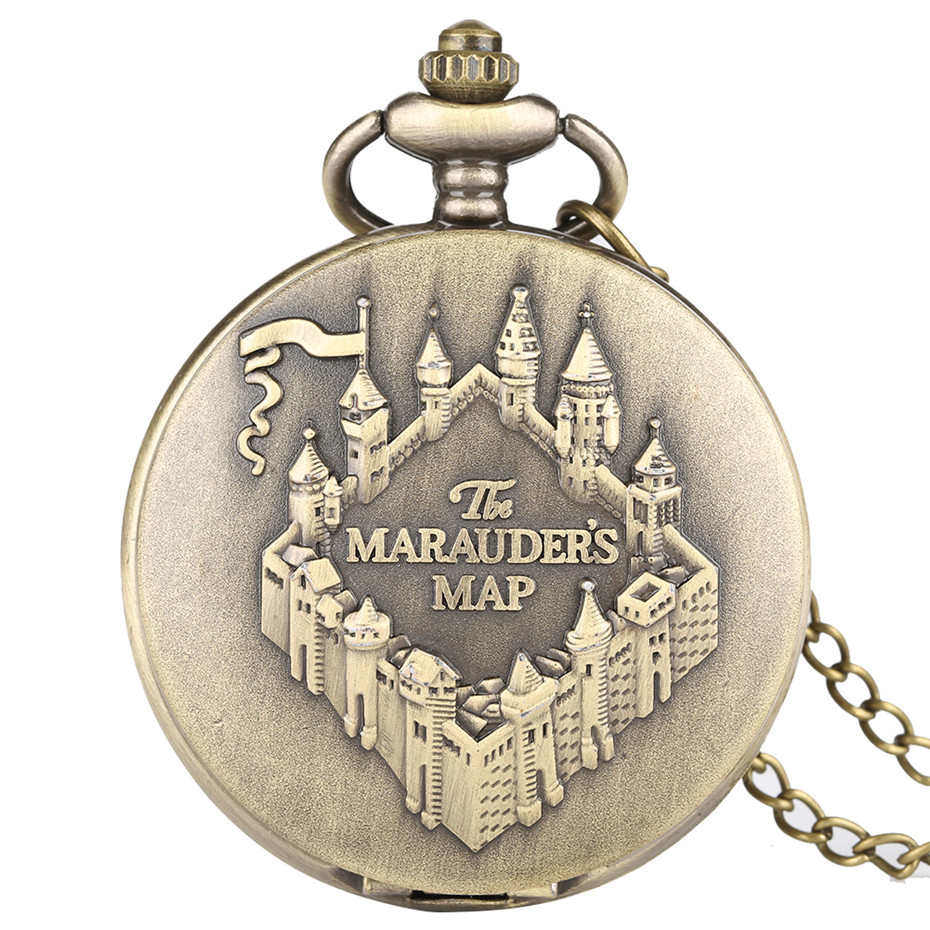 Bronze Color The MARAUDER'S MAP Quartz Pocket Watch Necklace Pendant Carving Design Women Men Unisex Watches Clock Gifts 2019