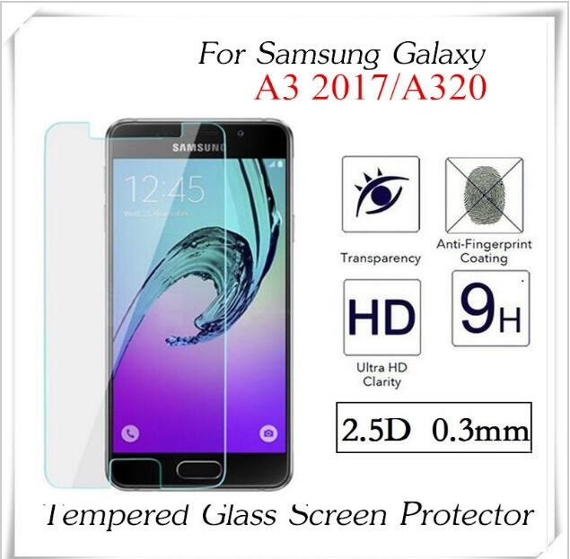 Цена за 100 шт. 2.5D 0.3 мм закаленное стекло для Samsung Galaxy A3 2017 Экран протектор Взрывозащищенный анти-shatter защитный пленка
