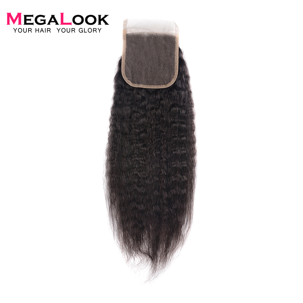 Megalook Remy Lace Closure Human-Hair Yaki Straight Light/medium Brown 10-22inch Brazilian