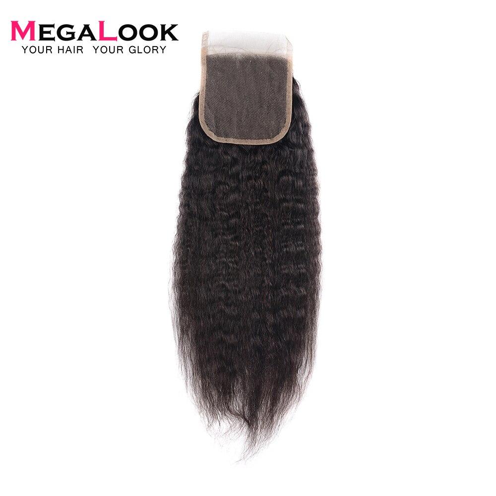 Megalook Yaki Straight 4*4 Lace Closure 10-22inch Brazilian Remy Human Hair Lace Closure Light/Medium Brown